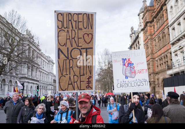 London, UK. 04th Mar, 2017. Citizens march from Tavistock Square to the Houses of Parliament to defend the NHS Credit: - Stock Image