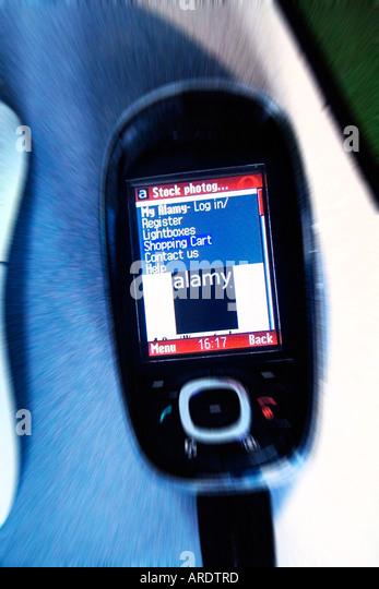 Alamy Site WAP Access Using Mobile Telephone - Stock Image