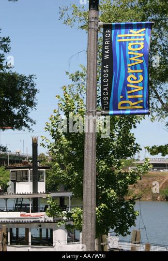 Alabama Tuscaloosa Black Warrior River Riverwalk Alabama Belle banner - Stock Image