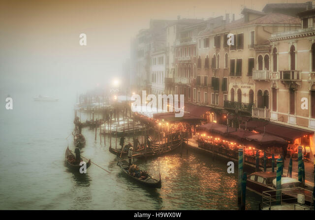 View from Rialto bridge to Canal Garnle at dusk, fog, gondolas ,  Venedig, Venezia, Venice, Italia, Europe, - Stock Image