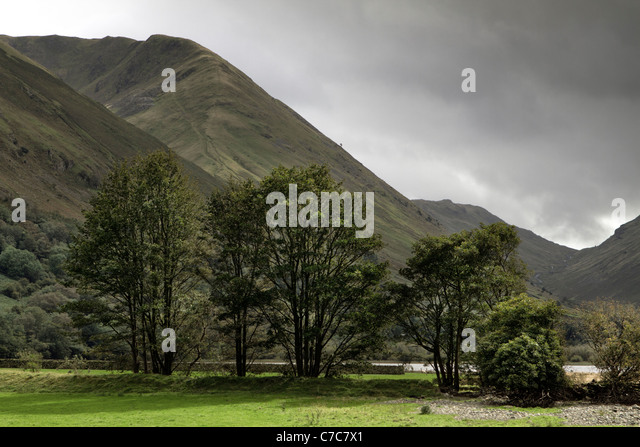 Brothers Water from Hartsop towards the Kirkstone Pass (right), Lake District, Cumbria - Stock Image