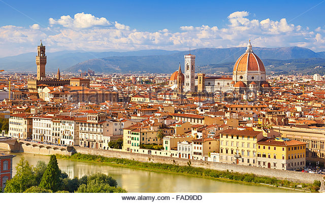 Cityscape view of Florence from the Piazzale Michelangelo, Tuscany, Italy - Stock-Bilder