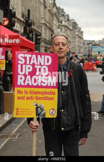 London, UK. March 18, 2017: Peter Tatchell, LGBT rights campaigner poses for photos ahead of the Stand Up To Racism - Stock Image