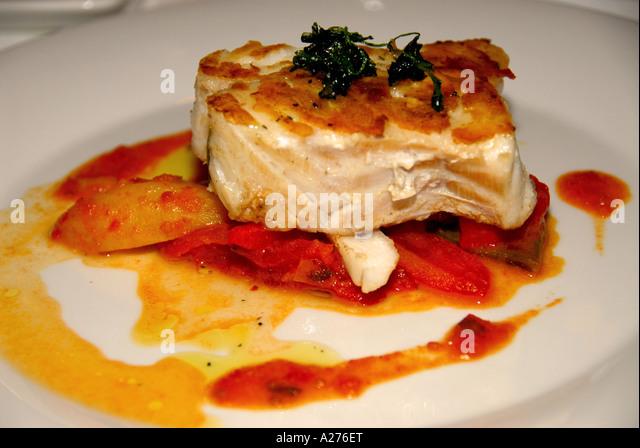 Chile Santiago chilean fine dining sea bass chilean food cuisine - Stock Image