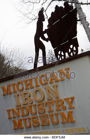 Michigan Upper Peninsula U.P. UP Lake Superior Negaunee Michigan Iron Industry Museum heritage education Great Lakes - Stock Image