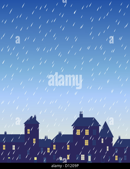 an illustration of a rainy day in a city with various shaped buildings and houses with lighted windows under a stormy - Stock-Bilder