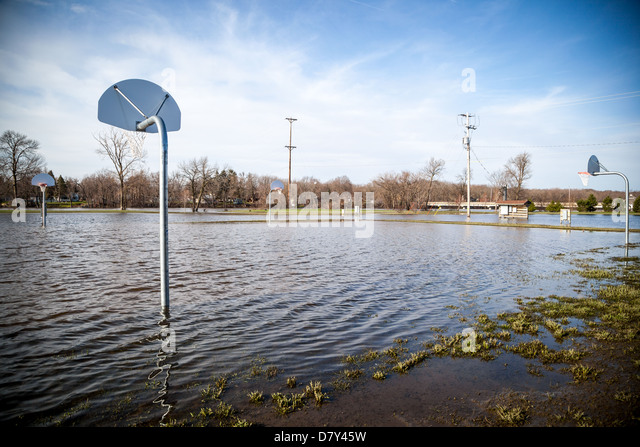 Rock River overflows and floods a park - Stock Image