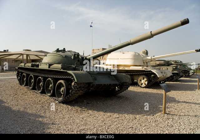 T62 Tank used by the Syrian in the Yom Kippur War at the Israeli Armored Corps Museum at Latrun, Israel - Stock Image