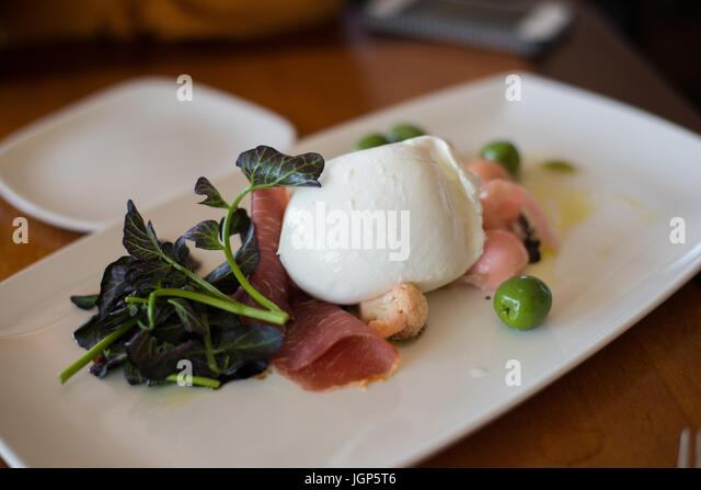 Burrata served at Sky City at the Space Needle. - Stock Image