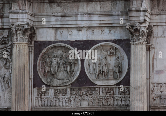 The famous Arch of Costantin, Arco di Costantino Roma, Rome, Italy, detail, travel, photoarkive - Stock Image