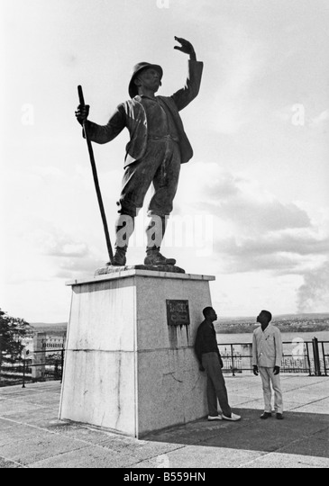 Statue of Henry Morton Stanley, Congo river explorer, that once stood beside Stanley Pool in the D.R.Congo - Stock-Bilder
