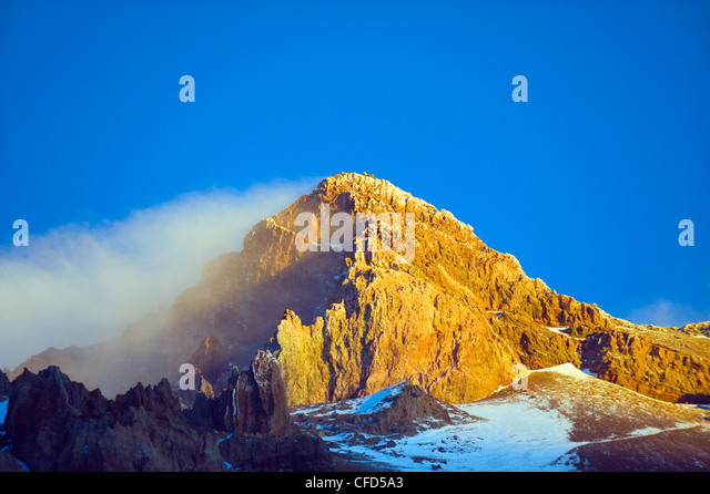 Cloud at the summit of Aconcagua 6962m, highest peak in South America, Aconcagua Provincial Park,Andes mountains, - Stock Image