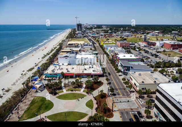 South Carolina SC Myrtle Beach Atlantic Ocean North Ocean Boulevard Plyler Park boardwalk SkyWheel Ferris wheel - Stock Image