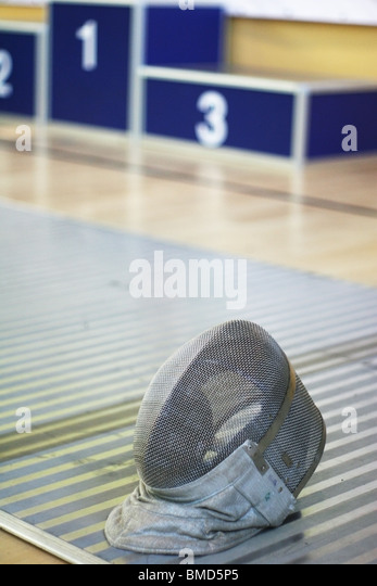 mask and podium- fencing,sword,foil, - Stock Image