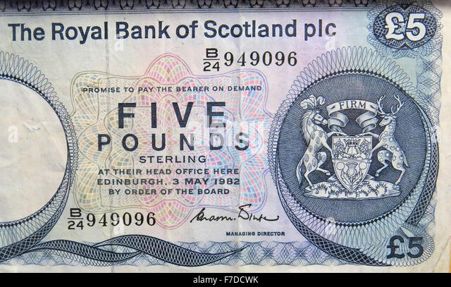 Old Royal Bank Of Scotland PLC,£5,note 1972 to 1981, UK - Stock Image