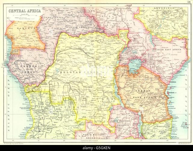 CENTRAL EAST AFRICA French Belgian Congo British German Kenya Tanzania, 1909 map - Stock-Bilder