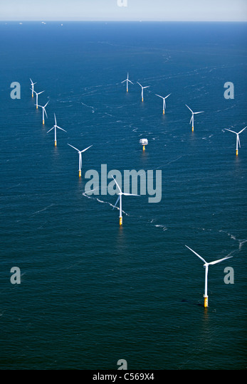 The Netherlands, IJmuiden, Aerial view of wind turbines park called Offshore Windpark Egmond aan Zee or Princess - Stock Image