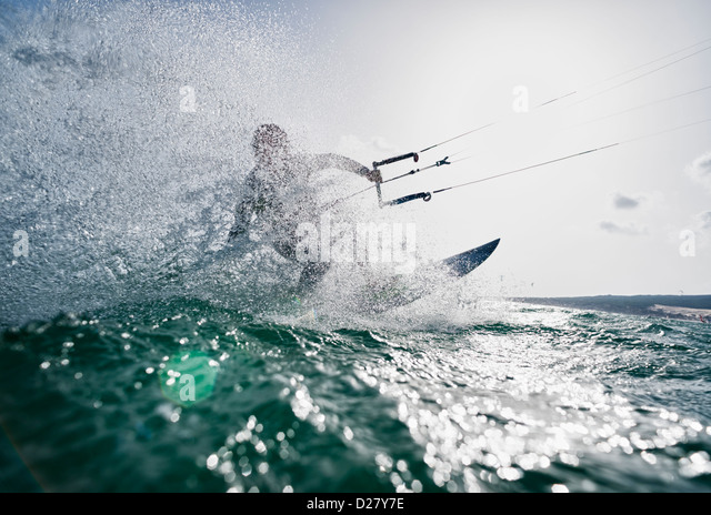 Kitesurfing action. - Stock Image