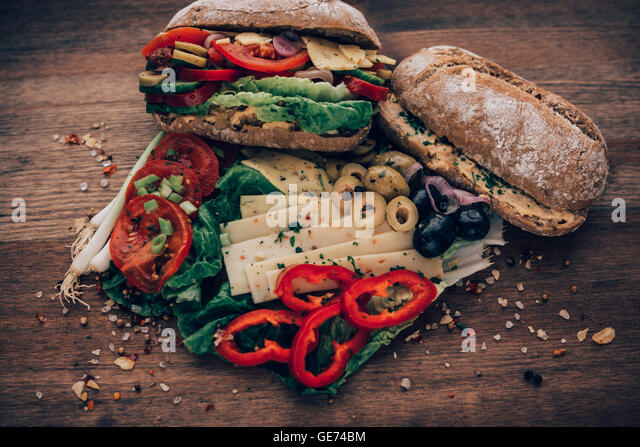 Sandwich made from everything in the refrigerator. - Stock Image