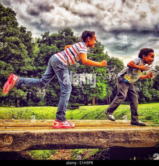 Kids having fun - Stock-Bilder
