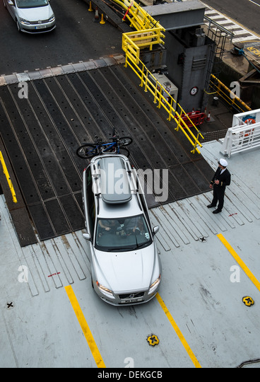 Car Boarding Ro Ro Ferry - Stock Image