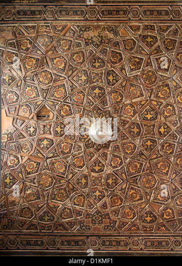 detail of the painted woodwork on the interior, Mosque of Rustem Pasha, Tahtakale, Istanbul, Turkey - Stock Image