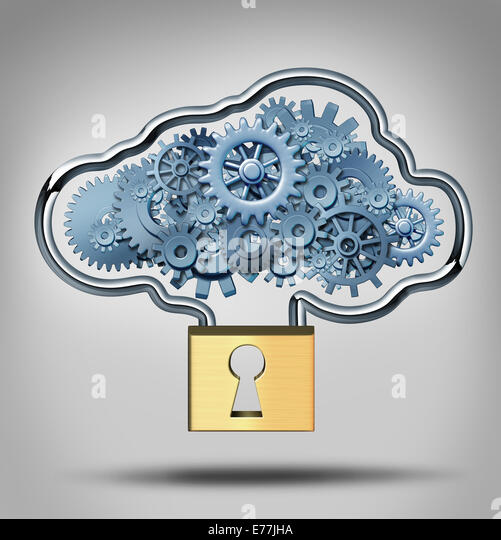 Cloud security concept and internet data protection symbol as a three dimensional lock providing protection to a - Stock-Bilder