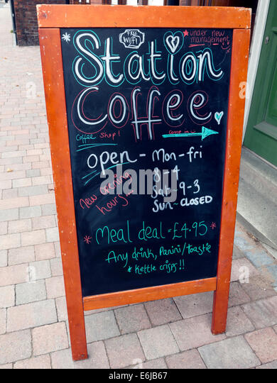Station Coffee,independent cafe,resisting Costa and Starbucks, outside blackboard - Stock Image
