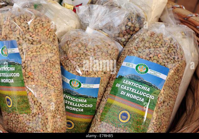 Castelluccio di Norcia Umbia, Italy famous lentils - Stock Image