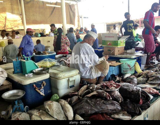 Oman, Muscat, Overlooking fish market - Stock Image