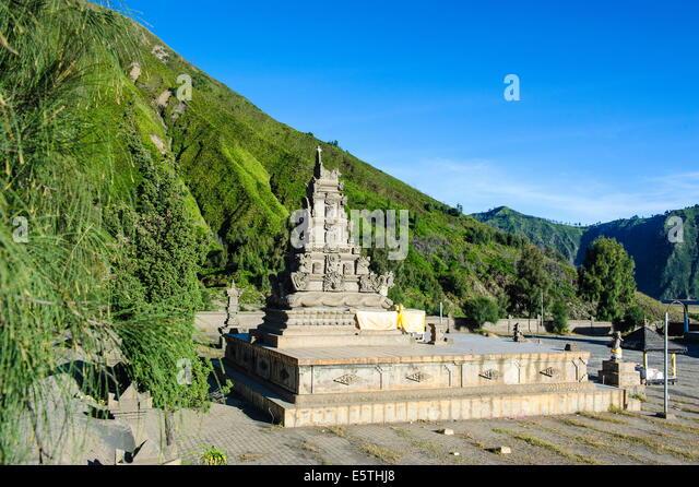 Hindu temple complex, Mount Bromo, Bromo Tengger Semeru National Park, Java, Indonesia, Southeast Asia, Asia - Stock Image