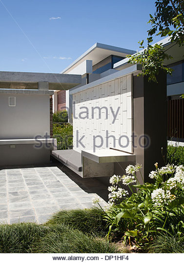 Patio at modern house - Stock Image
