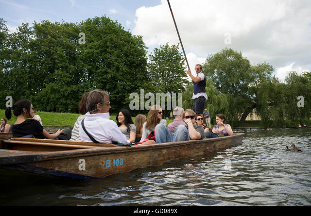 Tourists enjoying a punt on the River Cam, Cambridge, - Stock Image