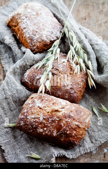 Fresh homemade bread with rye and oat - Stock Image