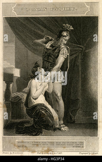 Antique 1817 engraving, scene from 'The Roman Father, A Tragedy in 5 Acts ' by William Whitehead. SOURCE: - Stock Image