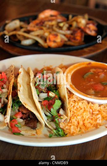 Homestead Florida Krome Avenue Casita Tejas Mexican Restaurant dining tacos al pastor rice salsa - Stock Image