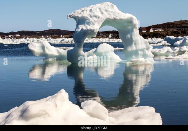 Icebergs in Twillingate Harbour - Twillingate, Newfoundland, Canada - Stock Image