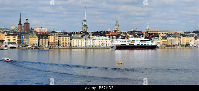 Cityscape, ships, vessels, panoramic view of Stockholm city and Baltic sea, Sweden - Stock Image