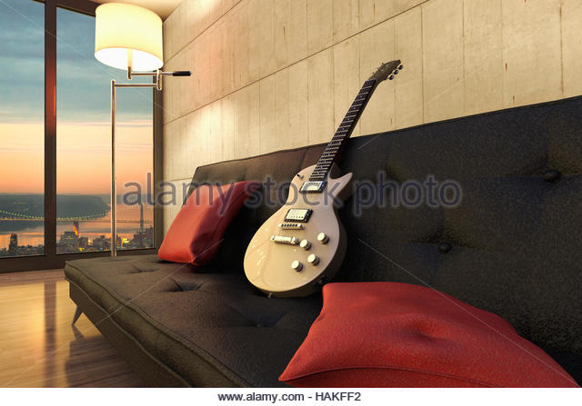 Digital Illustration of Guitar on Sofa in Apartment in New York City, New York, USA - Stock Image