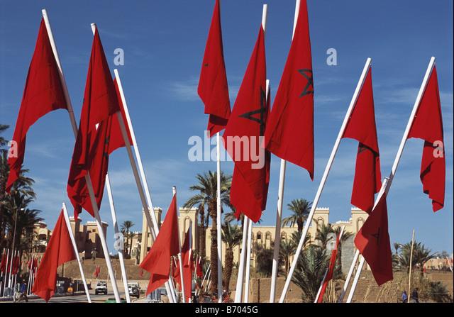 Flags, Flag of Marocco, Zagora, Draa Tal, Marocco, Africa - Stock-Bilder
