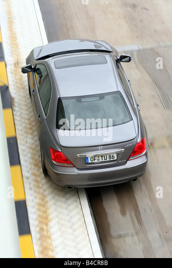 Honda Legend 3.5 SH-AWD, model year 2006-, anthracite, driving, diagonal from the back/oben, test track - Stock Image