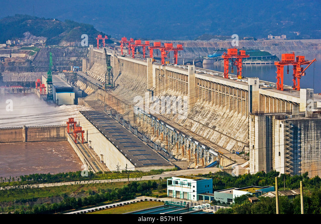 Three Gorges Dam viewed from the visitor and tourism area Yangzi River China JMH3441 - Stock Image