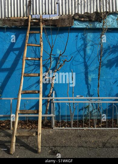 A ladders in a blue wall. - Stock Image