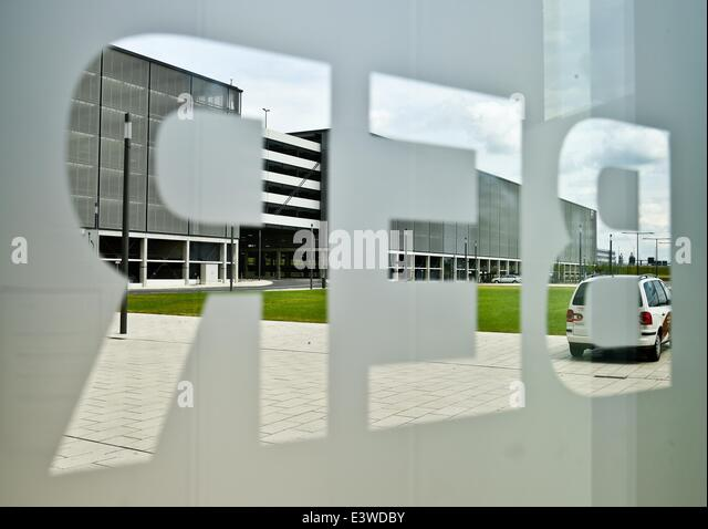 Schoenefeld, Germany. 30th June, 2014. View through the BER logo at the new capital airport in Schoenefeld, Germany, - Stock Image