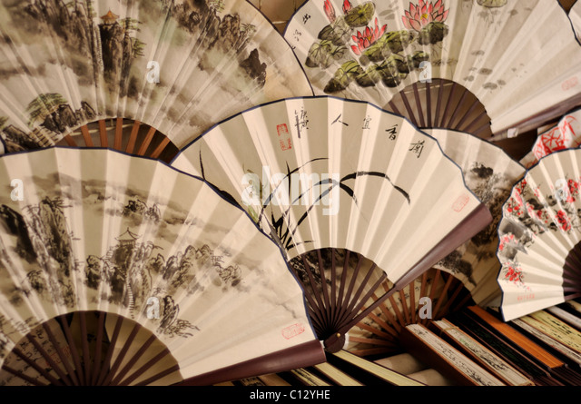 painted chinese fans - Stock Image