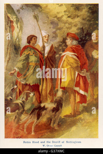 An encounter between the outlaw Robin Hood and the upholder of the law, the Sheriff of Nottingham. - Stock Image