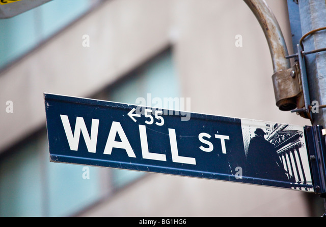 Wall Street the Financial District of Downtown Manhattan - Stock Image