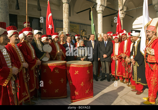 Turkish prime minister Tayyib Erdogan and his wife in Topkapi Palace, Istanbul. - Stock Image