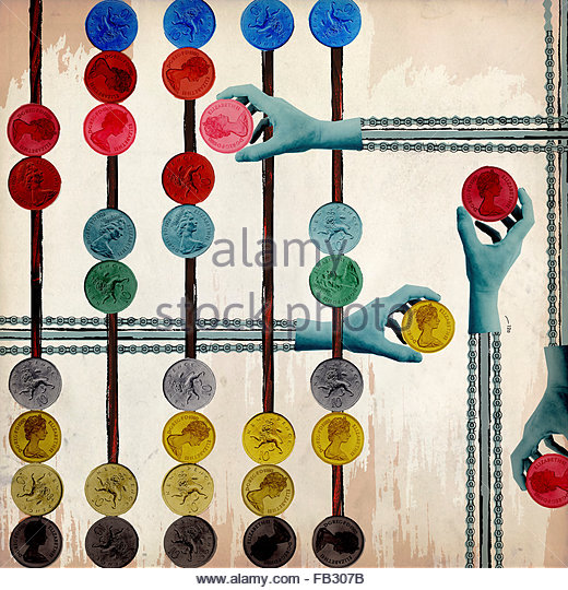Mechanical hands on pulley chains moving British money coins on abacus - Stock Image