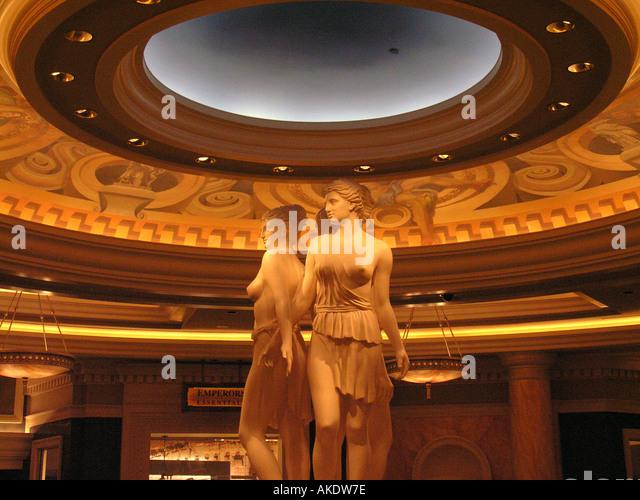 Las Vegas Nevada Las Vegas strip Caesars Palace roman statues in main hotel lobby - Stock Image